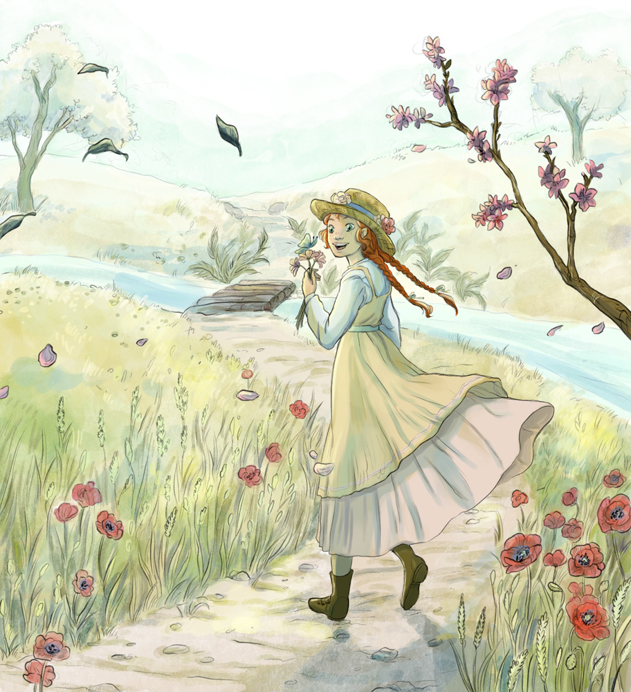 anne of green gables illustration coutryside