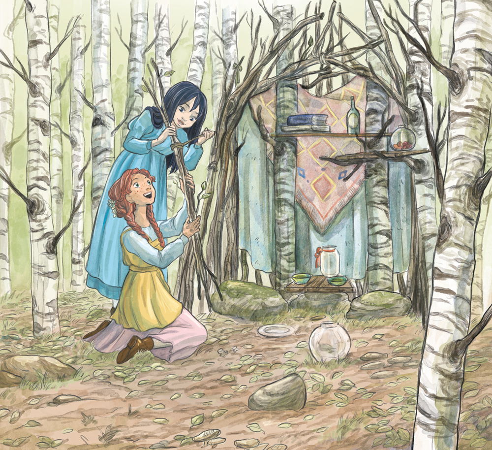 anne of green gables illustration anne and diana in the wood