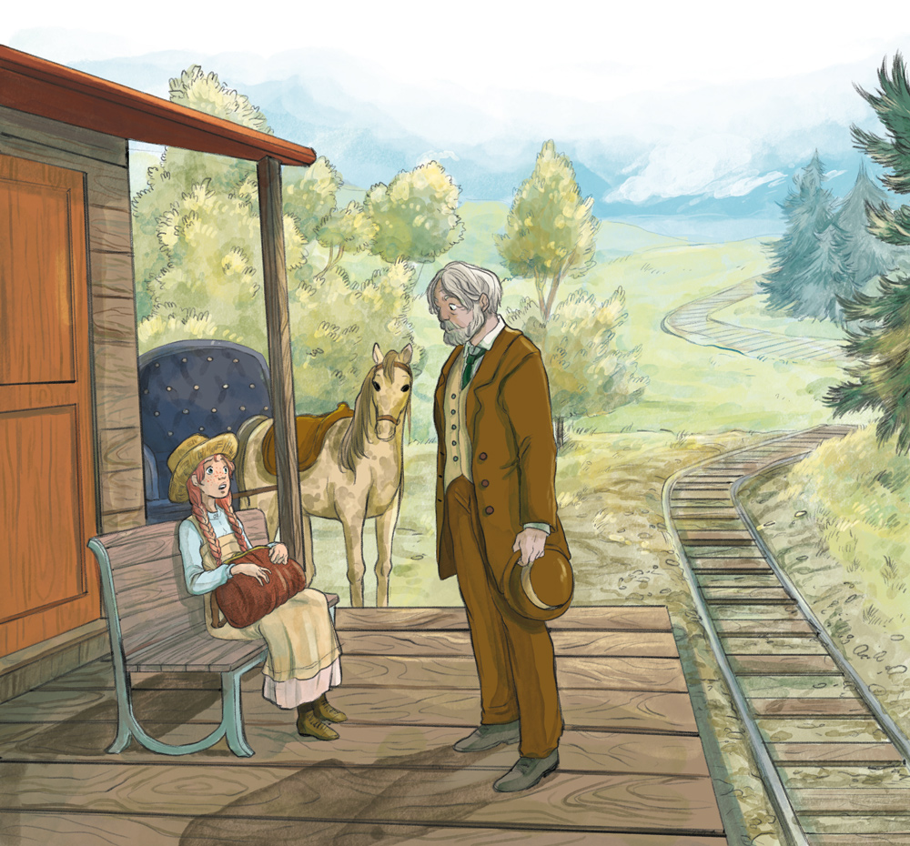 anne of green gables illustration anne and matthew at the train station