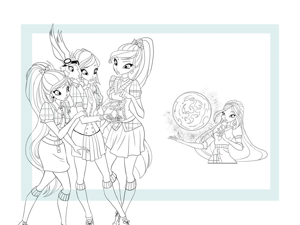 Winx-illustration-black&white-cleanup illustration flora magical girls