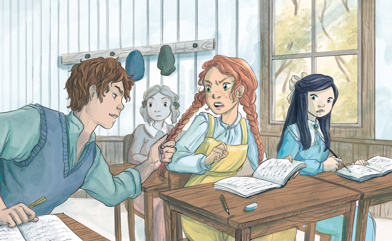 anne of green gables illustration gilbert and anne at school