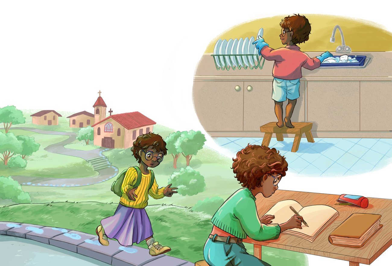 Kathrine Johnson at child, counting , making her homeworks and going to school