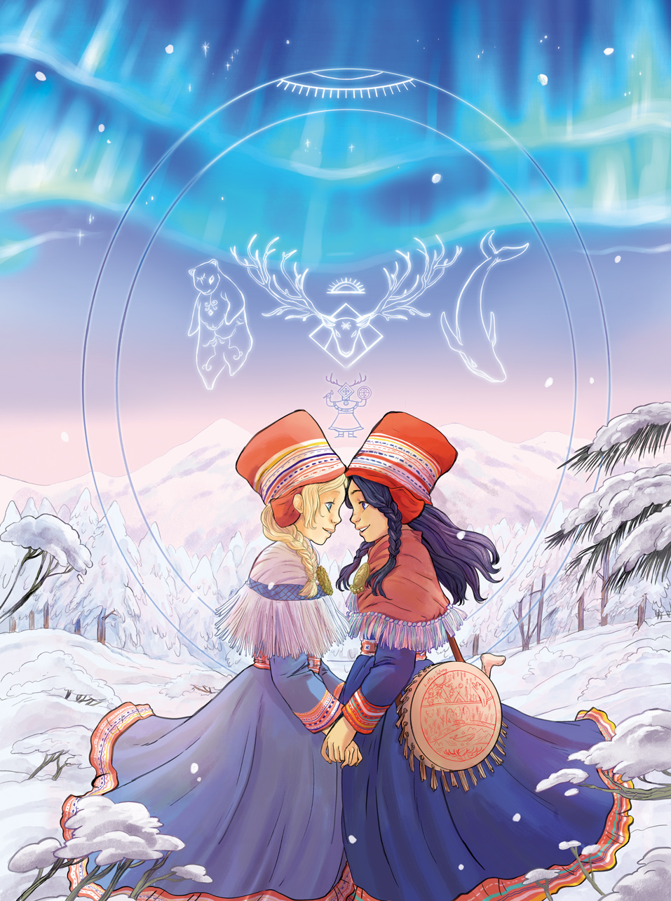 Cover-of-the comic.book le-voyages-de-lotta sisters sami people northern Lights