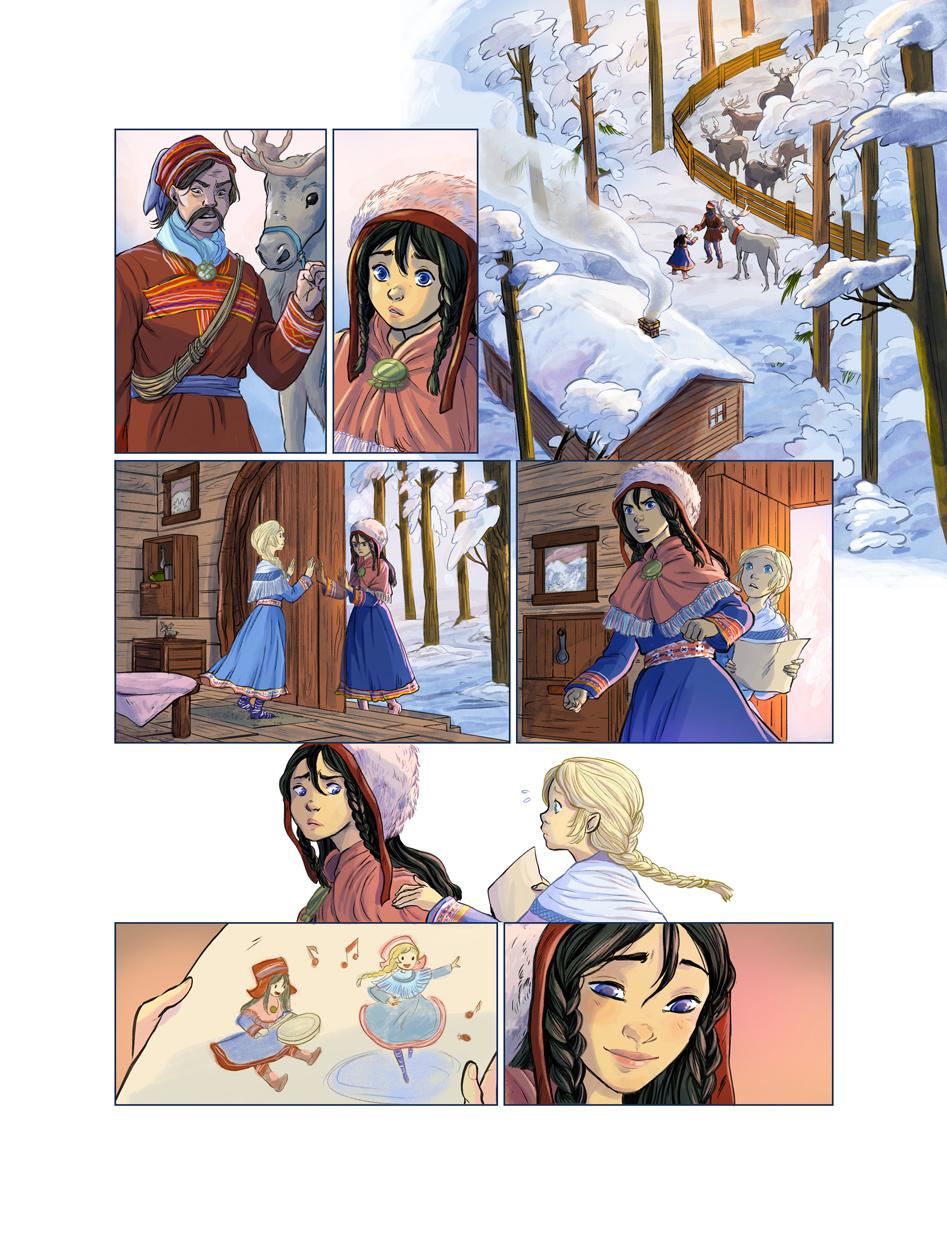 les voyages de lotta comic page 04 reindeer snow sami people sisters