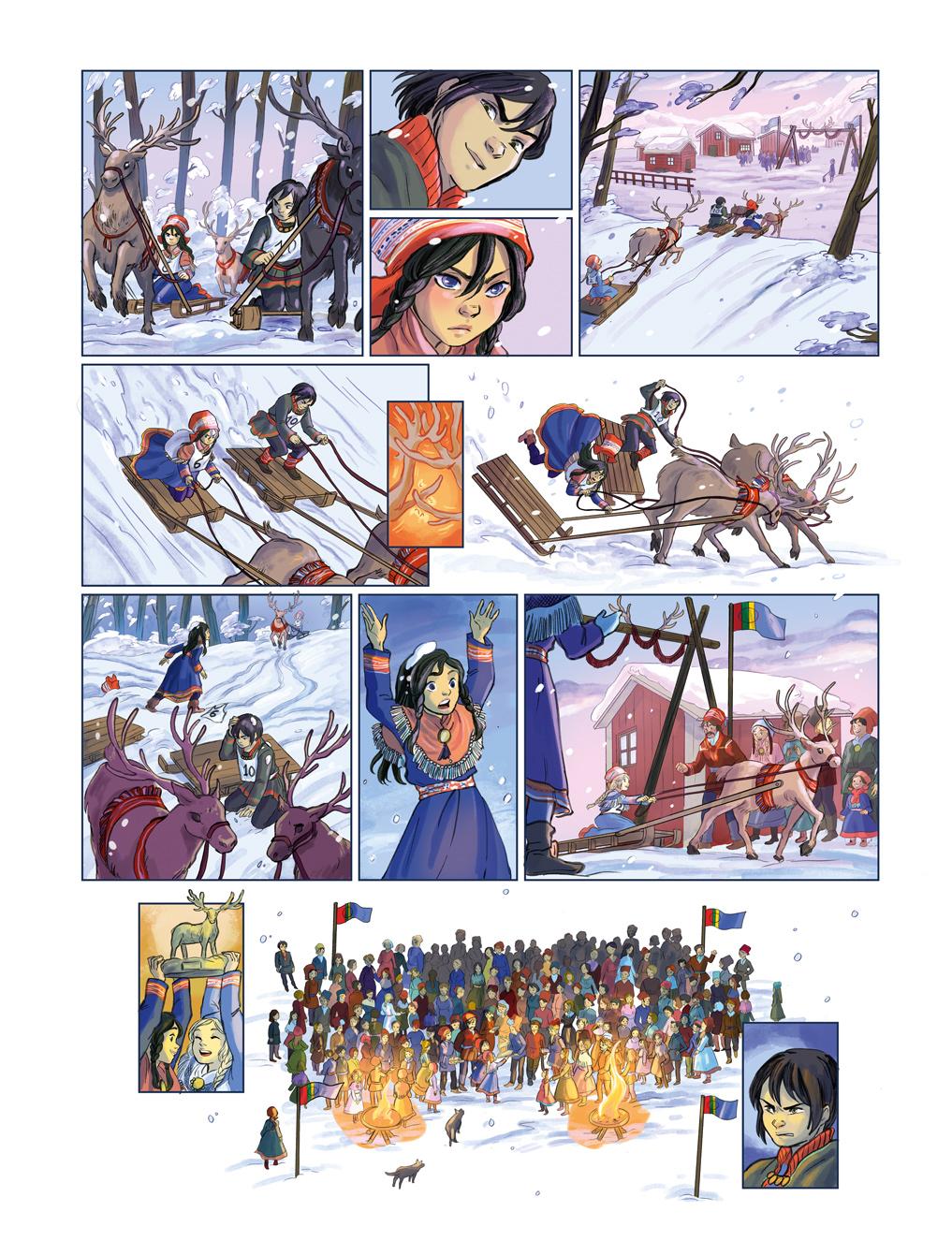 les voyages de lotta page comic reinderr ride boy girl competition sami people