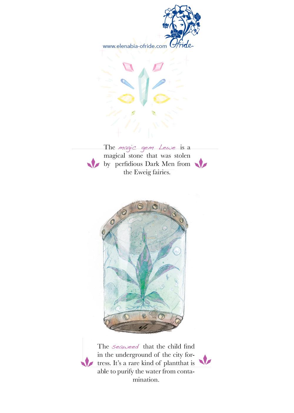 lewe studies sketches plant and gem